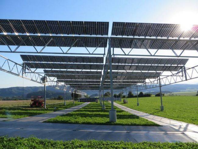 Projet pilote agro-photovoltaïque allemand lac constance panneaux solaires sur armatures surélevées