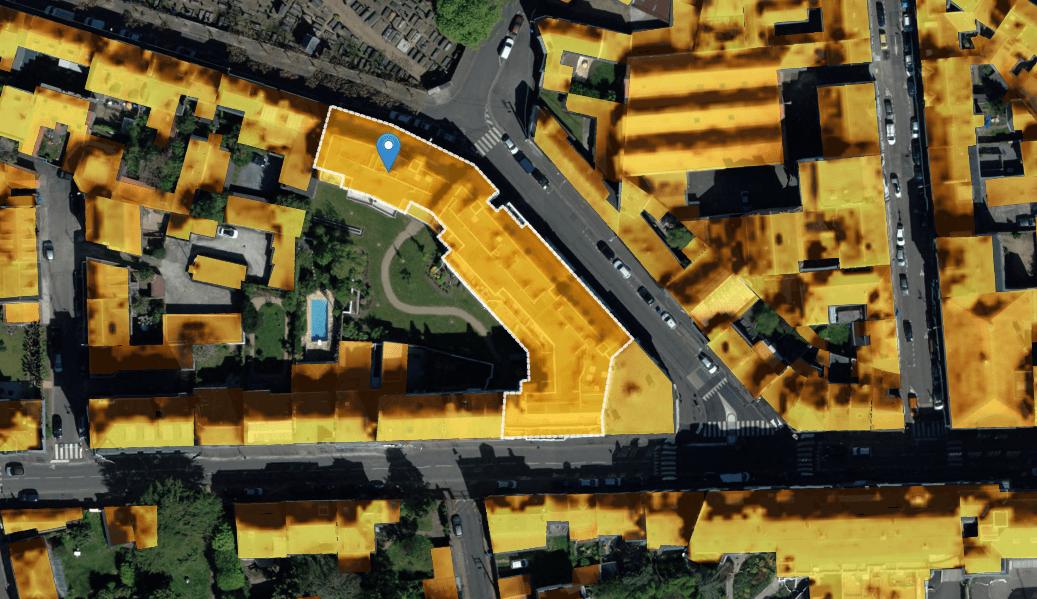 Bâtiment calcul potentiel solaire thermique photovoltaique cadastre in sun we trust Nantes Métropole