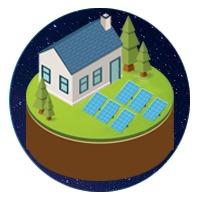 icône maison kit solaire au sol autonomie réseau électricité
