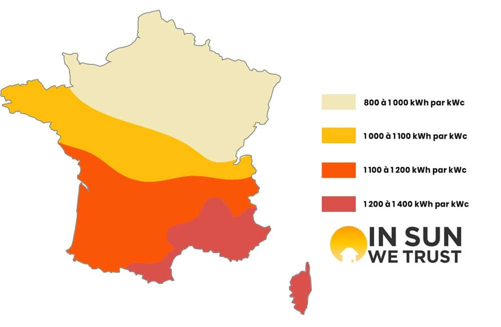 schéma ensoleillement production kWh par kWc photovoltaïque France