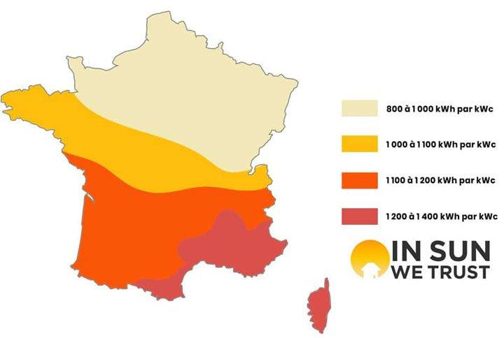 carte france rendement panneau photovoltaique