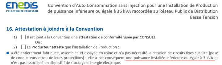 Convention d'auto consommation sans injection ENEDIS