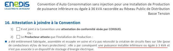 Contrat convention d'auto consommation