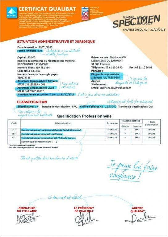 specimen de certificat RGE Qualibat