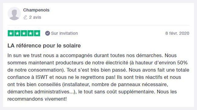 Avis trustpilot monsieur Champenois sur son installation de panneau solaire photovoltaique en autoconsommation