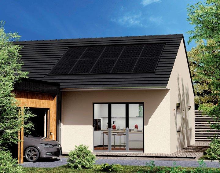 maison équipée de panneaux solaires systovi