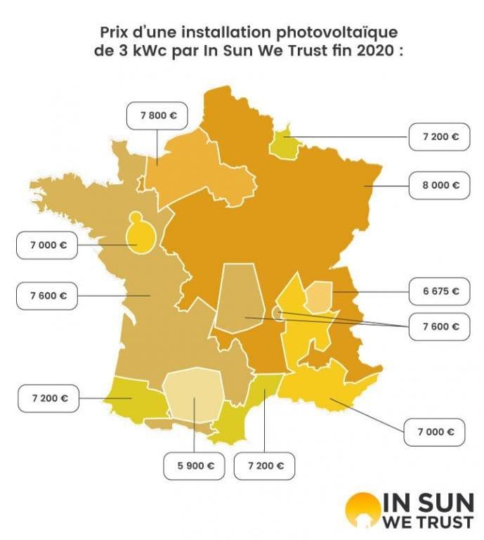 Carte du prix des installations de 3 kWc en France