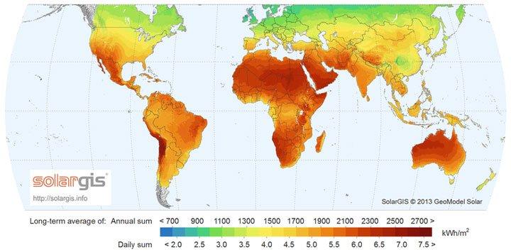 carte rayonnement solaire dans le monde