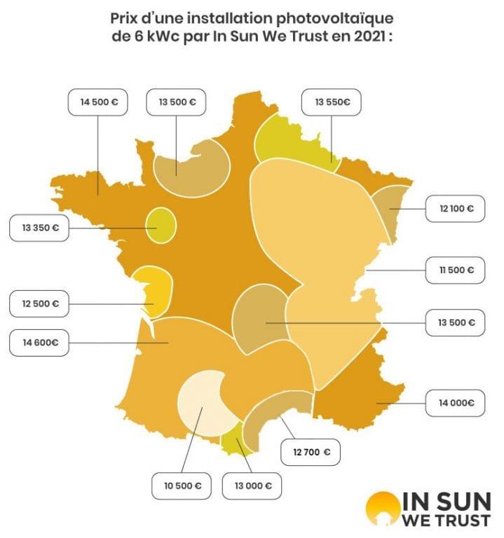 Carte des prix des installations photovoltaïques de 6 kWc en France