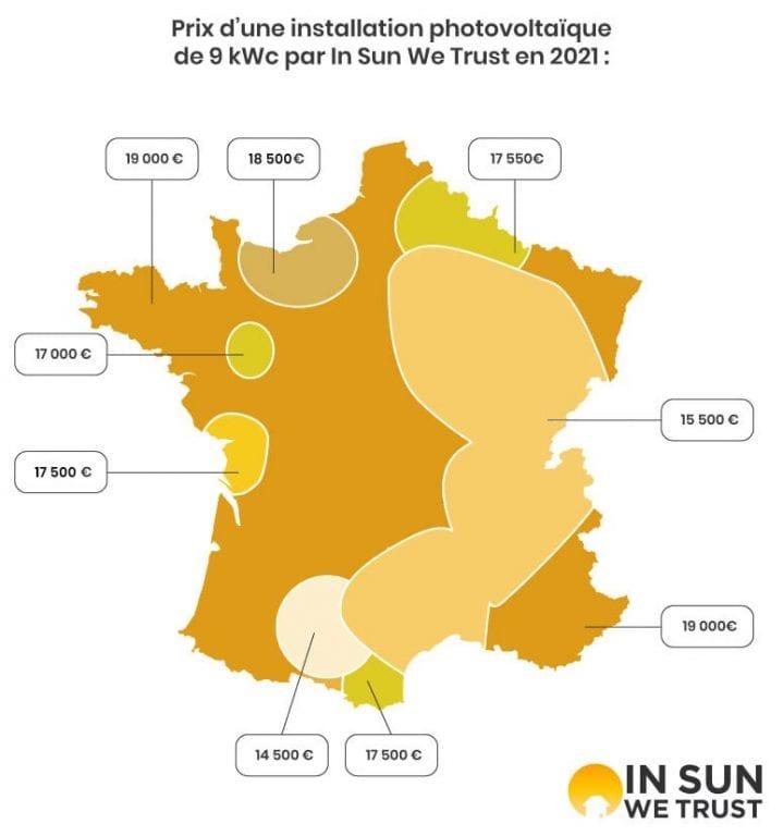 Carte des prix des installations photovoltaïques de 9 kWc en France