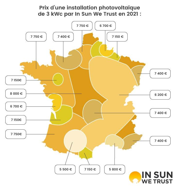 Carte des prix des installations photovoltaïques de 3 kWc en France